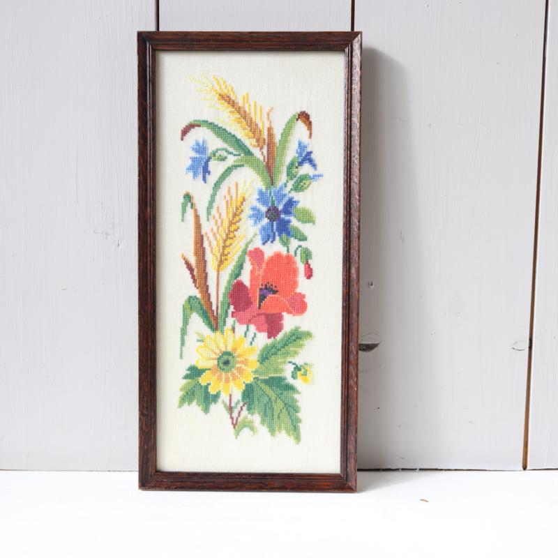 Vintage gehaakt bloemen schilderij