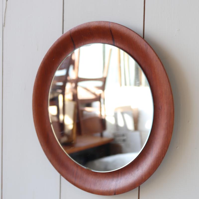 Vintage rond spiegeltje plywood