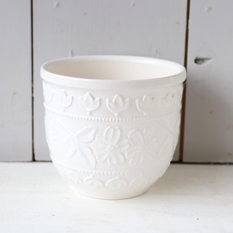 Vintage bloempot wit patroon