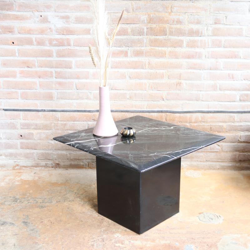 Vintage zwart marmer salontafel vierkant