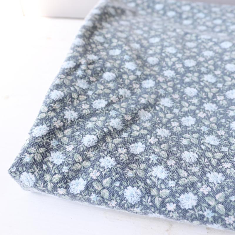 Vintage bloemen stofje gordijn blauw