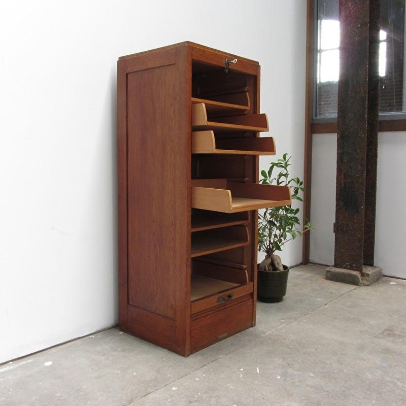 Nieuw vintage archiefkast hout | verkocht | Meutt vintage & interior NO-28