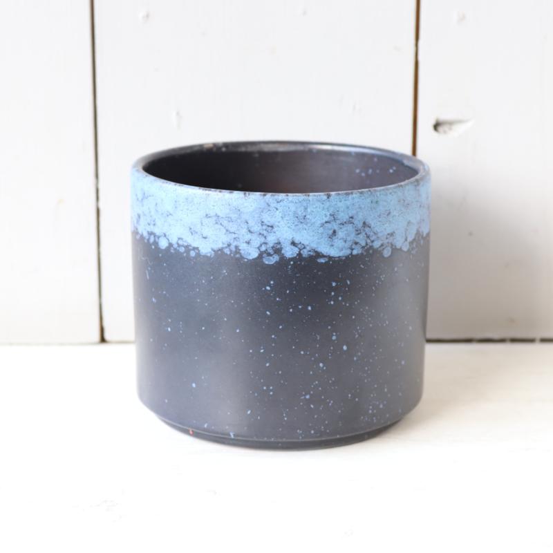 vintage bloempot blauw