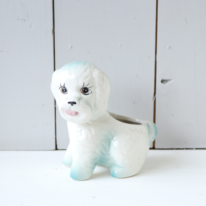 Vintage bloempot hond