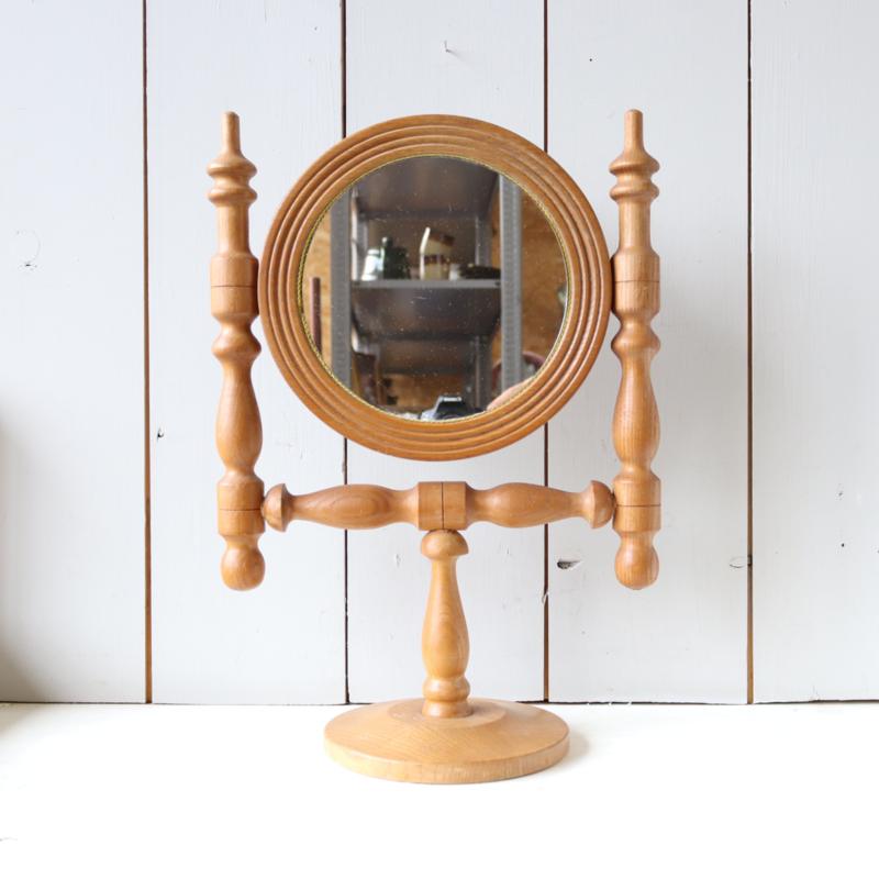 Vintage houten tafel spiegel rond