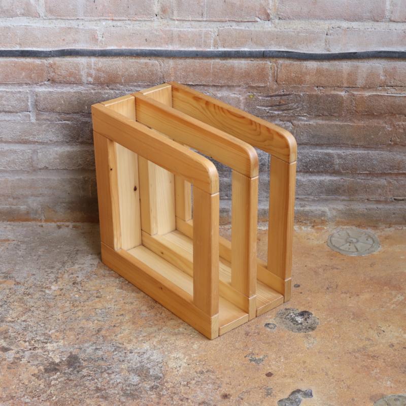 Vintage lp platen rek hout