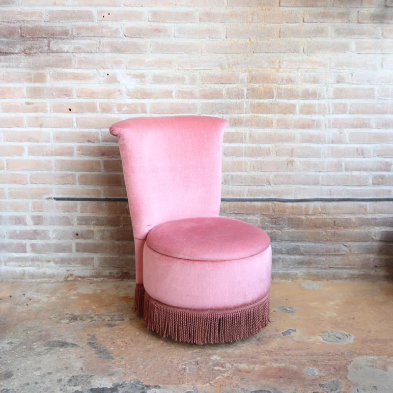 Vintage roze fauteuil velvet
