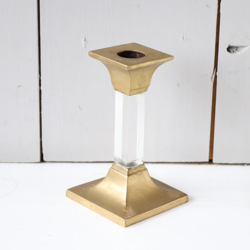 Vintage kandelaar messing glas