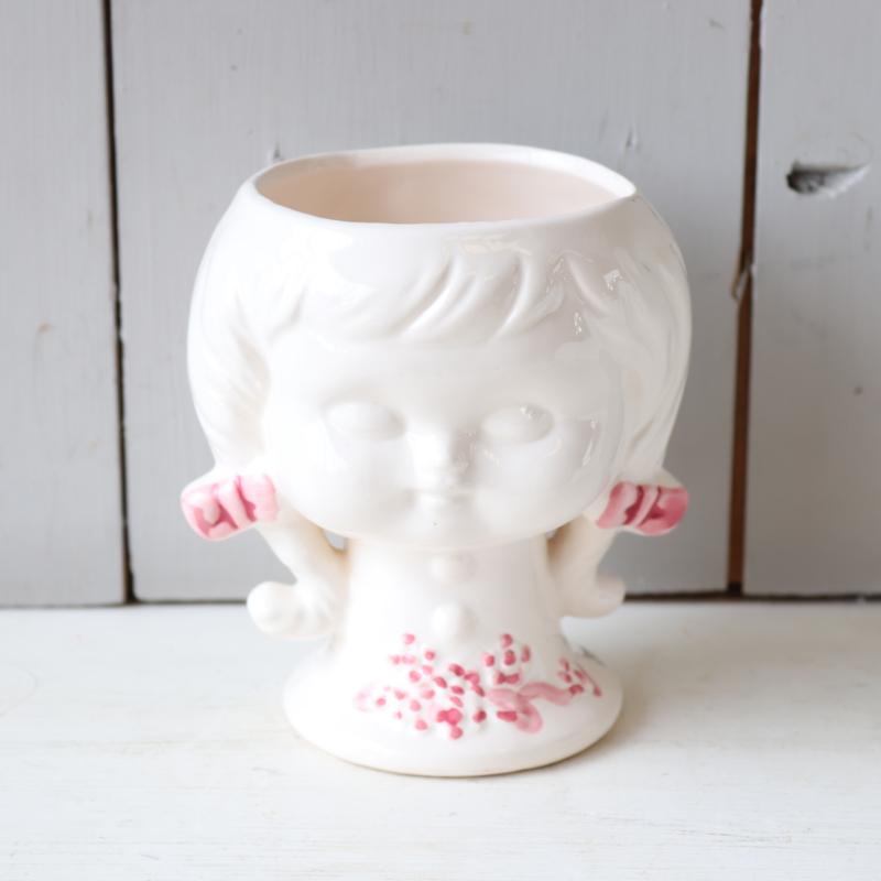 Vintage bloempot hoofd groot