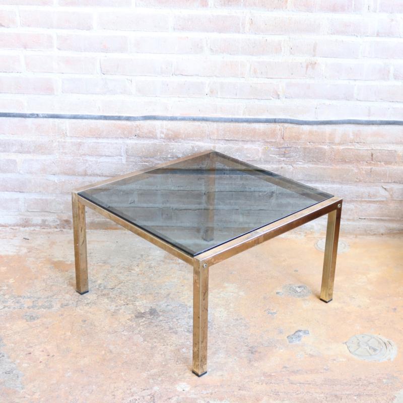 Vintage bijzettafeltje goud rookglas