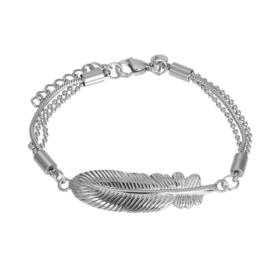 Bracelet feather zilver