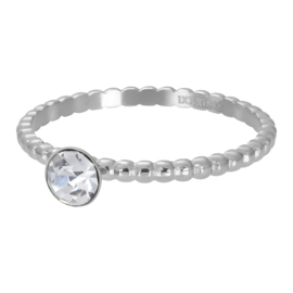 IXXXI  ball with crystal stone zilver 2mm