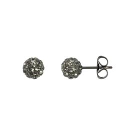 Ball oorbellen (zwart)