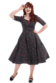 Collectif Mainline Dolores Cherry Polkadot Dress