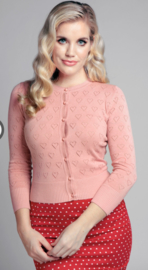 Collectif  Leah Heart Cardigan Pink