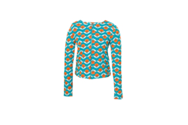 Mooi Vrolijk Vest Short - Blue Retro Flowers