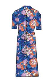 Mooi Vrolijk Dress Long - Cobalt Blue Flowers
