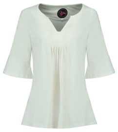 Tante Betsy Tunic Top White Slub Branch