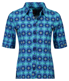 Tante Betsy Button Shirt Retro Daisy Blue