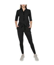 Zip73 Jumpsuit krijtstreep zwart