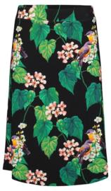 Tante Betsy Midi Skirt Botanical Bird Black
