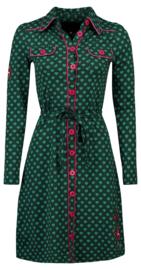 Tante Betsy Hearts Navy Dress Green