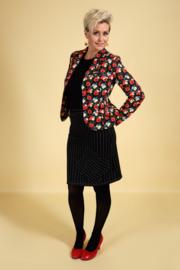 Margot Pinstriped  Blackflower skirt