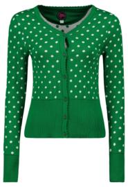 Tante Betsy Cardi Polka Dots Green