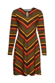 Lalamour Flared Dress High Neck Stripe