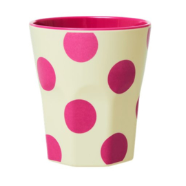 Rice Cup  Creme Fuchsia Dots Jumbo