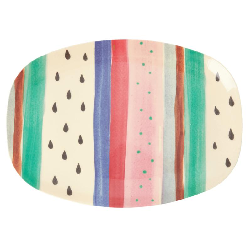 Rice Melamine Louises Stripe Plate