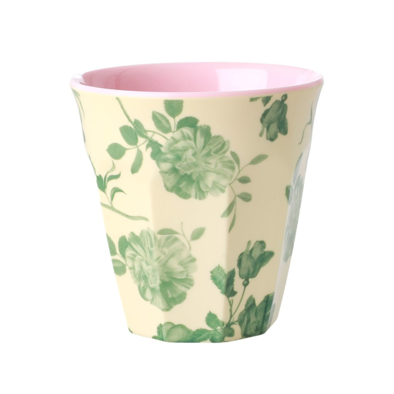 Rice Beker Green Rose Print