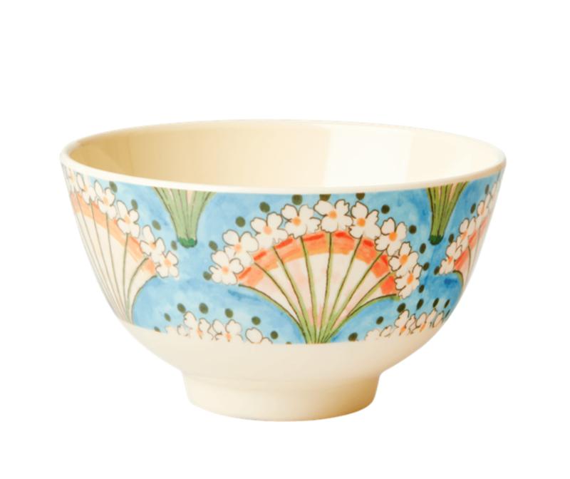 Rice Melamine Bowl Flower Fan print