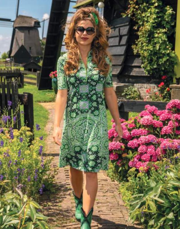 Lalamour Zipper  Dress Dutch Green