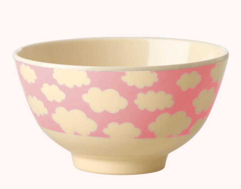 Rice Melamine Bowl Wolkjes Pink