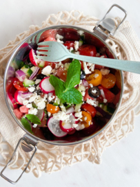 Summer-party-on-a-plate salade met watermeloen en feta
