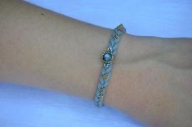 Gevlochten armband grijs
