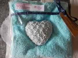 Geursteen gebloemd hart licht Blauw