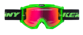 Kenny Track Goggle Neon Green with Red Mirror Lens