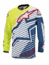 Alpinestars Racer Braap Jersey Fluo Yellow White Dark Blue