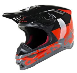 Alpinestars Supertech S-M8 Radium Helmet Red Fluo Black Mid Grey Glossy