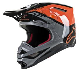Alpinestars Supertech S-M8 Triple Helmet Orange Gray Black Glossy
