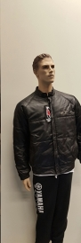 Leather puffy jacket black Mt. M
