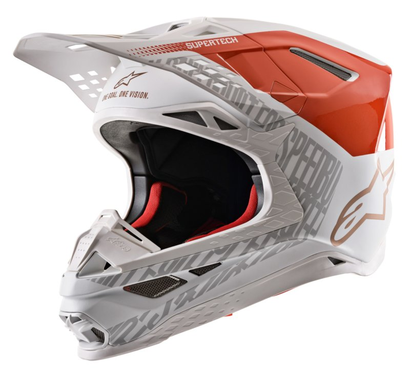 Alpinestars Supertech S-M8 Triple Helmet Orange White Gold 2020