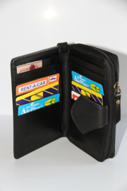 Wallet Square Peruvian Black  Leather