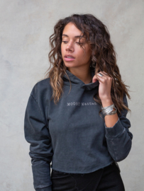 Moost Wanted - Eagle Cropped Hoodie - Stone Grey