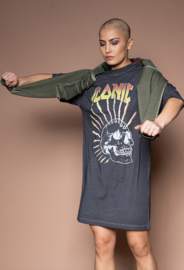 Iconic27 - Oversized Skull T-dress - Black