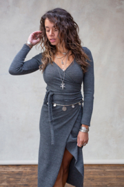 Moost Wanted - Gina Knitted Wrap Top - Stone Grey
