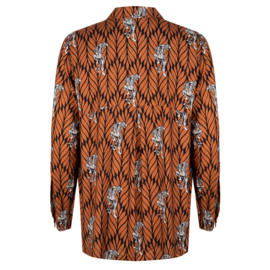 Iconic27 - Oversized Leave Blouse  - Brown