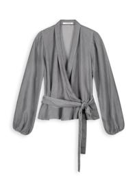 Homage - Tencel Wrap Blouse - Mid Grey